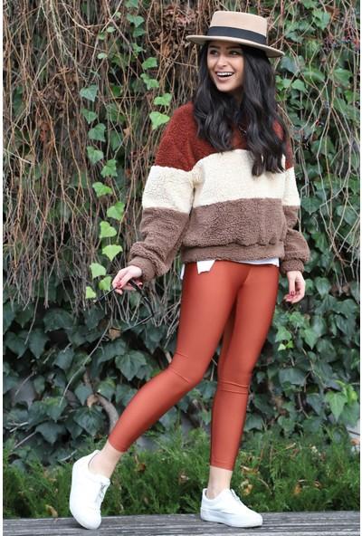 Açelya Okcu Fashion Parlak Push Up Tarçın Tayt