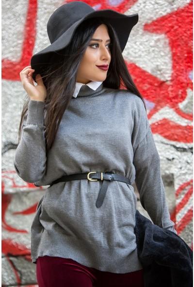 Açelya Okcu Fashion Çelikörgü Gri Balıkçı Kazak