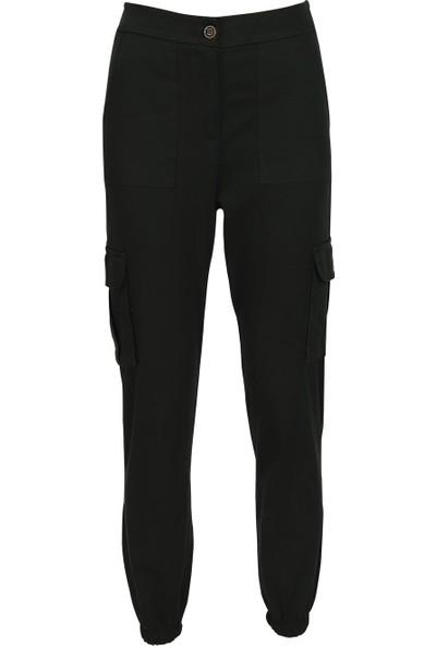 Açelya Okcu Fashion Yanları Cepli Siyah Kargo Pantolon