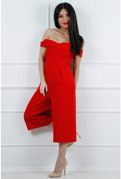 Açelya Okcu Fashion Omuzu Düşük Kırmızı Tulum