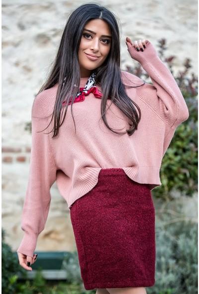Açelya Okcu Fashion Arkası Fermuarlı Pudra Kazak