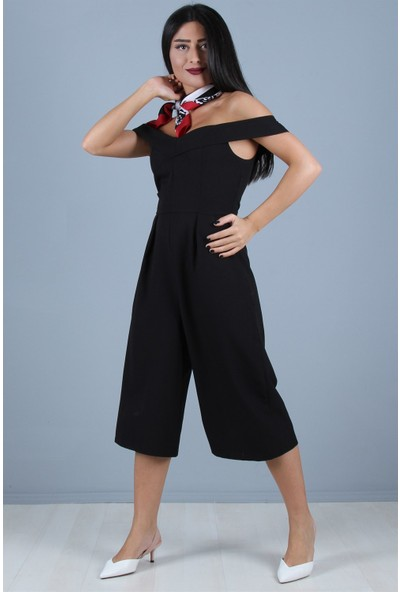 Açelya Okcu Fashion Kapri Tulum Siyah