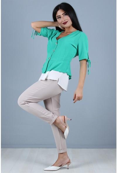 Açelya Okcu Fashion Düğmeli Mint Bluz