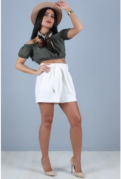 Açelya Okcu Fashion Yüksek Bel Belden Bağcıklı Beyaz Cepli Şort