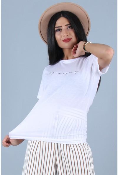 Açelya Okcu Fashion Life İs Nakışlı T-Shirt