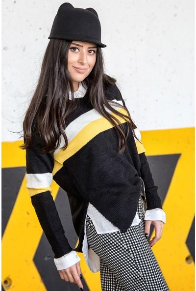 Açelya Okcu Fashion Sarı Çizgili V Yaka Kazak