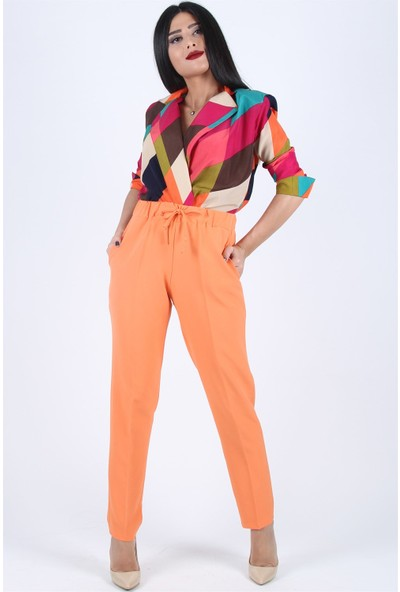 Açelya Okcu Fashion Beli Bağcıklı Turuncu Pantolon