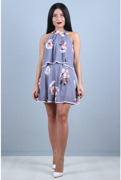 Açelya Okcu Fashion Çiçek Desenli Lila Şort Tulum