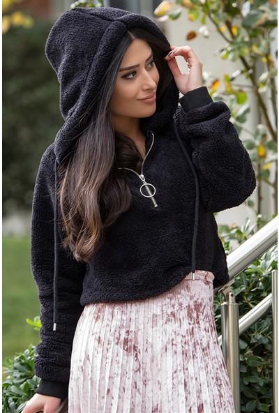 Açelya Okcu Fashion Kapşonlu Fermuar Detaylı İthal Polar Sweatshirt