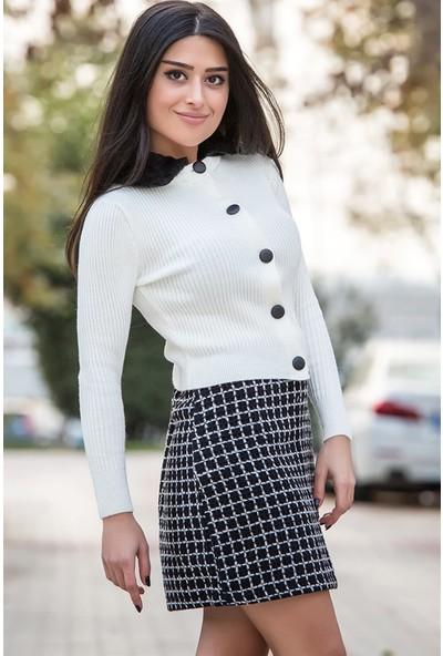 Açelya Okcu Fashion Yakası Kürklü Hırka