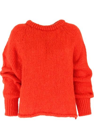 Açelya Okcu Fashion İtalyan Kol Kırmızı Kazak