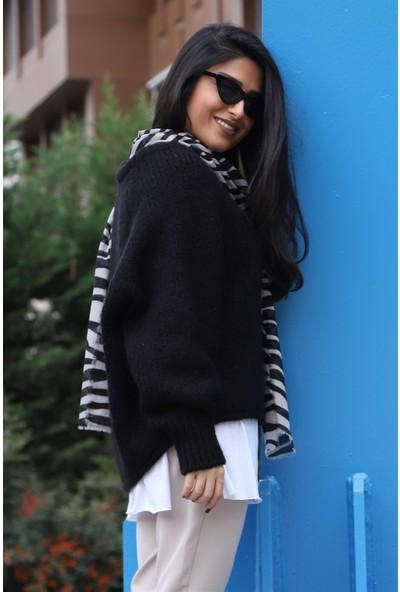 Açelya Okcu Fashion İtalyan Kol Siyah Kazak