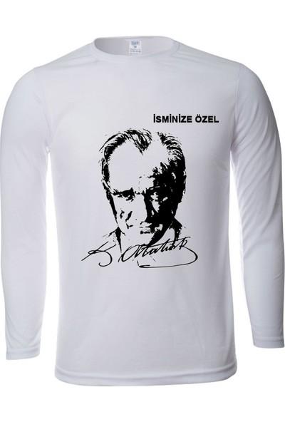 Srf İsminize Özel Atatürk Baskılı Uzun Kollu Tişört
