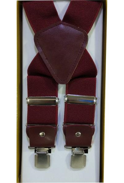 Kemer Dünyası Lüx Metal Klipsli Pantolon Askısı 4 Klipsli Bordo