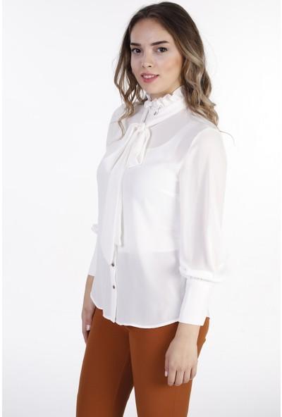 Tubitoo Kravatlı Beyaz Bluz