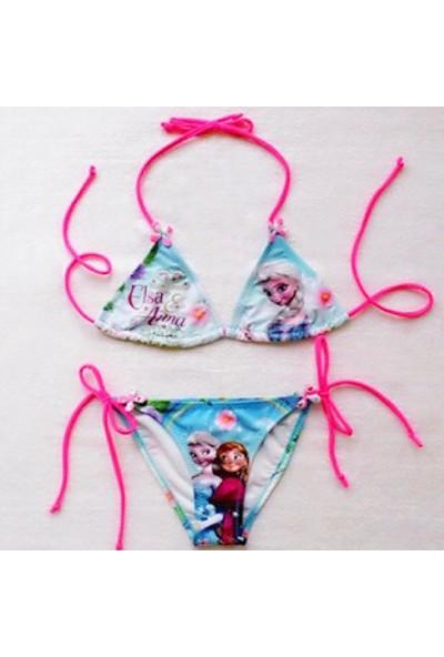 Butikhappykids Kız Çocuk Bikini Elsa & Anna Temalı Bikini