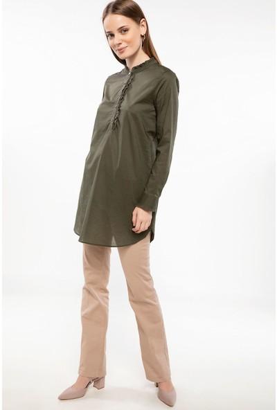 Defacto Kadın Fırfırlı Yakalı Uzun Kollu Tunik