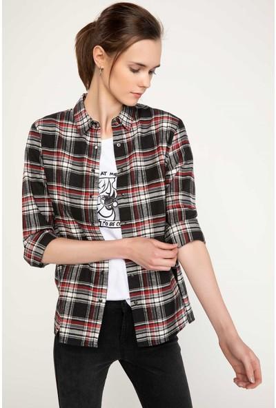 Defacto Kadın Kareli Gömlek