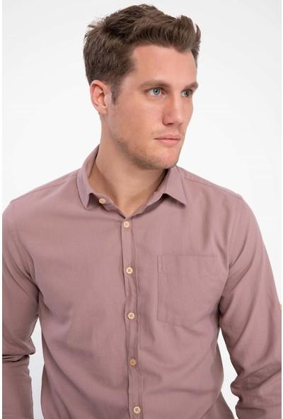 Defacto Erkek Tek Cepli Uzun Kollu Slim Fit Gömlek