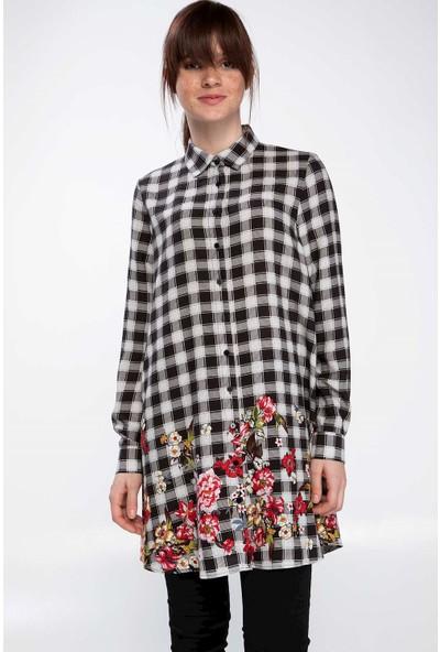 Defacto Kadın Çiçek İşleme Detaylı Kareli Gömlek Tunik