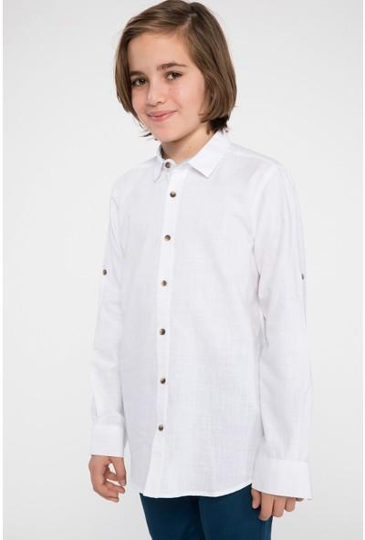 Defacto Erkek Çocuk Polo Yaka Cepsiz Uzun Kollu Poplin Gömlek