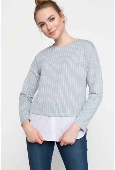 Defacto Kadın Gömlek Detaylı Çizgili Tunik
