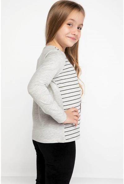 Defacto Kız Çocuk Kız Kulesi Baskılı Yatay Çizgili Uzun Kollu T-Shirt