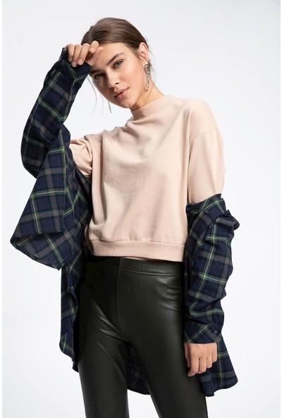 Defacto Kadın Yarım Balıkçı Yaka Balon Kollu Sweatshirt