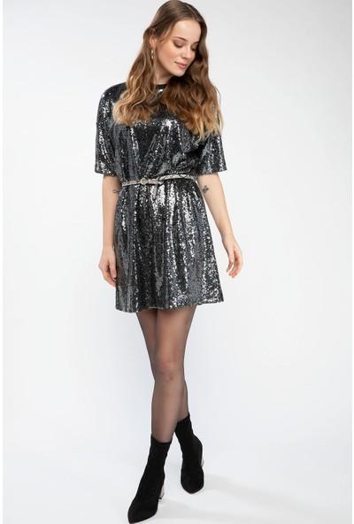 Defacto Kadın Düşük Omuzlu Payetli Elbise