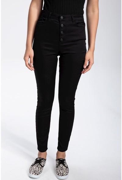 Defacto Kadın Düğme Detaylı Anna Super Skinny Fit Pantolon
