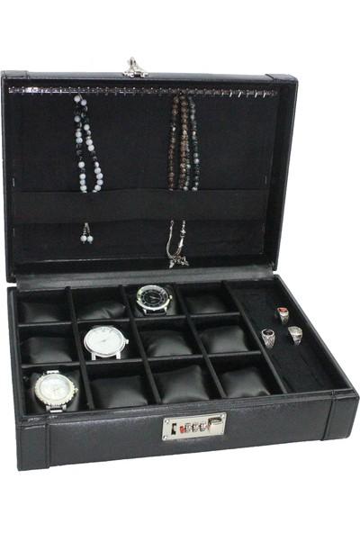 Dama Stile Ds-Mc-Skh6-00 Lux Şifreli 12'Li Saat Kutusu, Tespih Ve Yüzük Kutusu