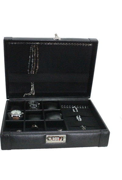 Dama Stile Ds-Mc-Skh44-00 Lux Şifreli 12'Li Saat Kutusu, Tespih Ve Yüzük Kutusu