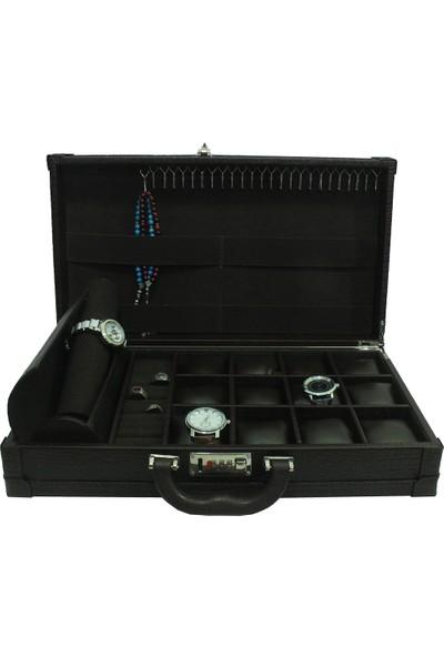 Dama Stile Ds-Mc-Skh46-Ka Lux Rulo Şifreli 15'Li Saat Kutusu, Tespih Ve Yüzük Çantası
