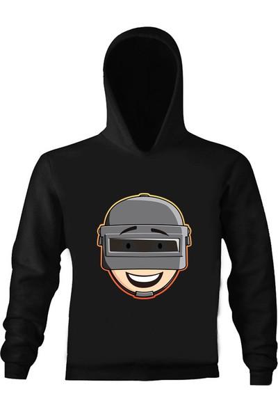 Art T-Shirt Pubg Helmet Çocuk Kapüşonlu Sweatshirt