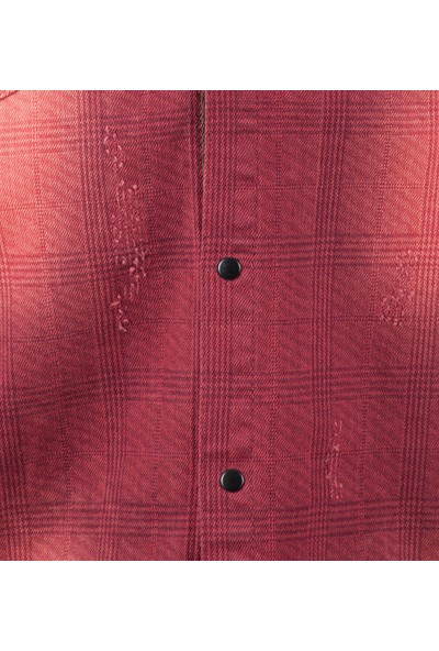 Deepsea Bordo Omuzlar Ve Önü Şeritli Ekose Desenli Çıtçıtlı Erkek Kot Gömlek 1803030