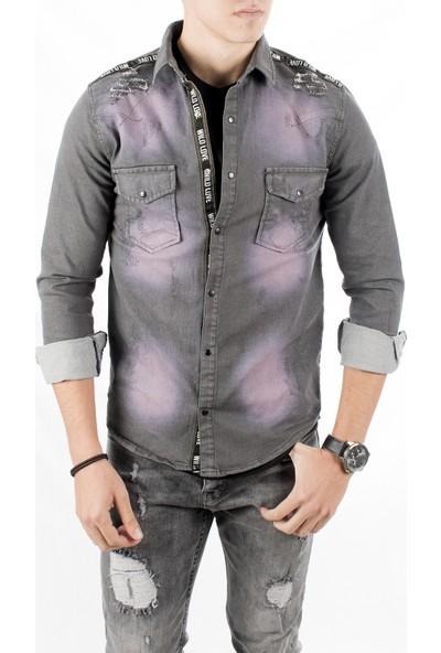 Deepsea Antrasit Omuzları Ve Önü Şeritli Taşlanmış Dar Kesim Erkek Kot Gömlek 1803031