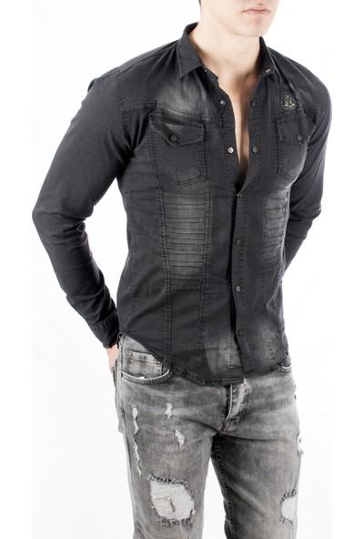 Deepsea Siyah Önü Modelli Taşlanmış Armalı Likralı Erkek Kot Gömlek 1805002