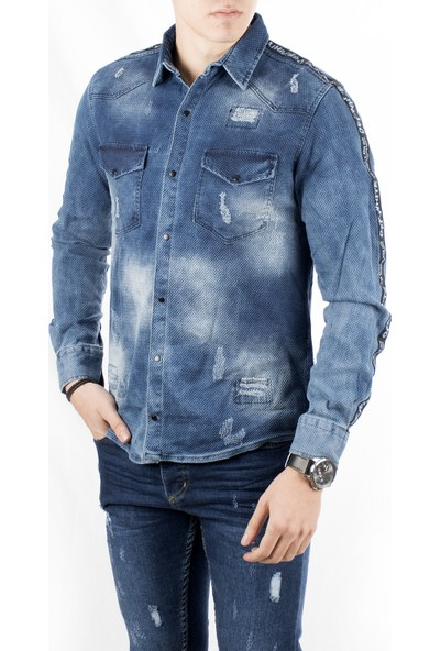 Deepsea Mavi Kendinden Desenli Yırtık Modelli Taşlanmış Kolları Şeritli Erkek Kot Gömlek 1805030