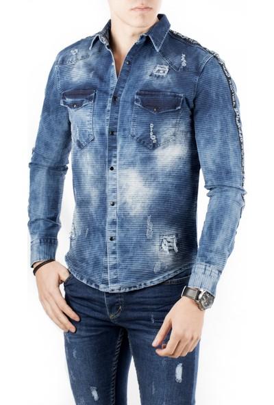 Deepsea Mavi Taşlanmış-Likralı Çift Cepli Çıtçıtlı Likralı Erkek Kot Gömlek 1805027
