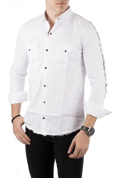 Deepsea Beyaz Önü Modelli Kolları Şeritli Eteği Oval Kesim Gabardin Erkek Kot Gömlek 1803019
