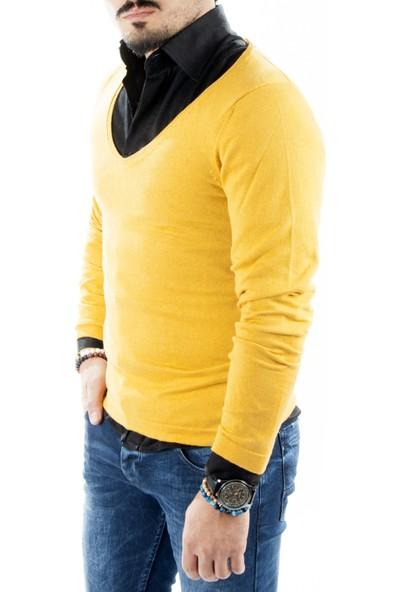 Deepsea Hardal Sarısı Geniş V Yakalı İnce Triko Erkek Kazak 1808081
