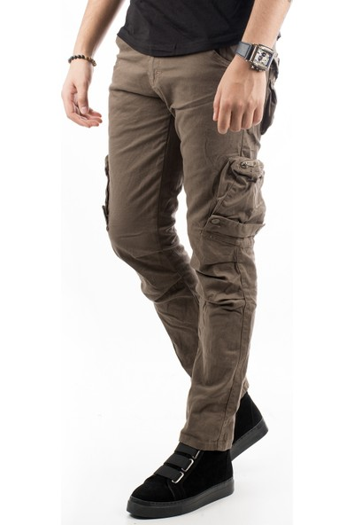 Deepsea Toprak Dar Kesim Cepleri Ters-Fermuarlı Erkek Kargo Pantolon 1611193