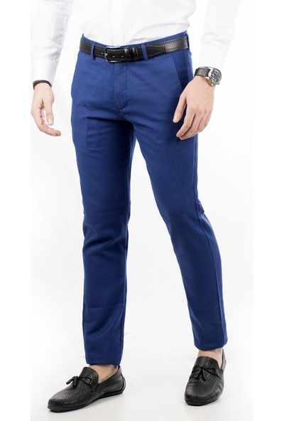 Deepsea Saks Mavi Kumaşı Desenli İtalyan Kesim Erkek Spor Pantolon 1805008