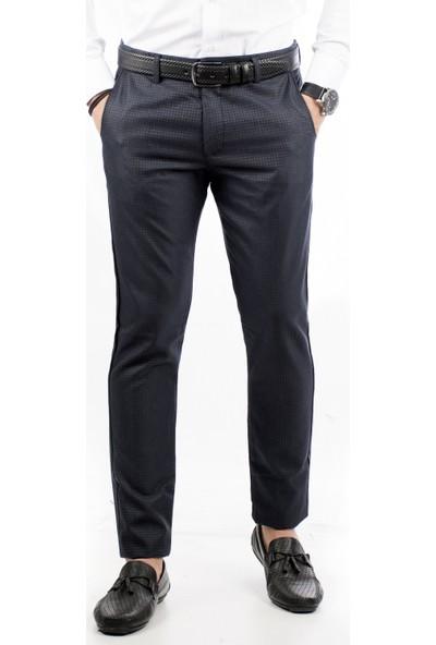 Deepsea Koyu Lacivert Kendinden Desenli Slimfit İtalyan Kesim Erkek Kumaş Pantolon 1805013