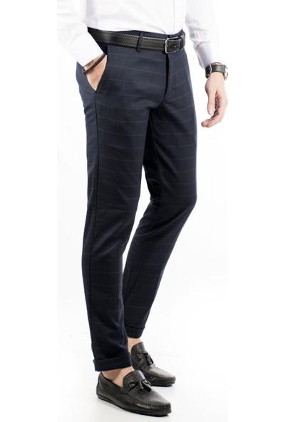 Deepsea Lacivert Kare Desenli İtalyan Kesim Duble Paça Erkek Pantolon 1807375
