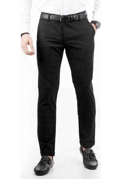 Deepsea Siyah Kare Desenli İtalyan Kesim Duble Paça Erkek Pantolon 1807375