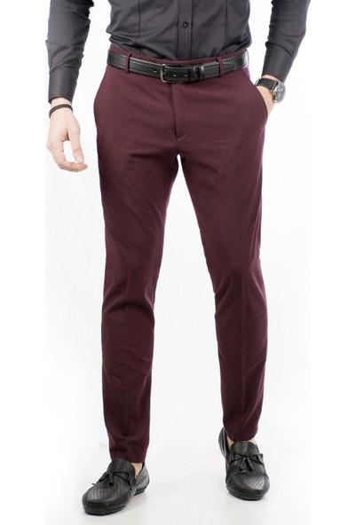 Deepsea Bordo İtalyan Kesim Kalın Kumaş Kışlık Erkek Spor Pantolon 1801008