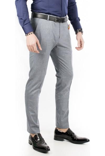 Deepsea Lacivert Kendinden Desenli İtalyan Kesim Kışlık Erkek Spor Pantolon 1801122