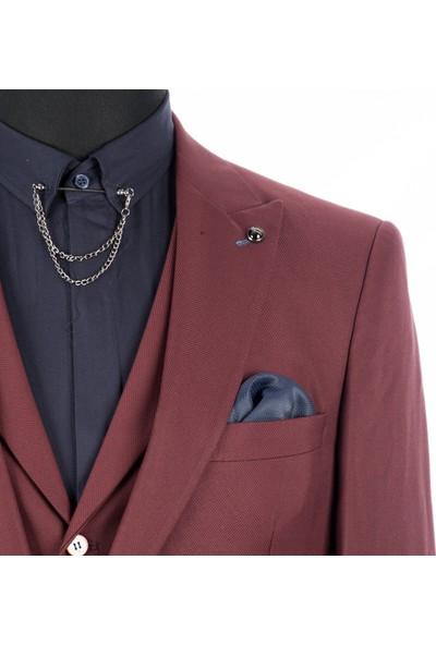 Deepsea Bordo Kendinden Desenli Çift Yırtmaçlı İtalyan Kesim 3'Lü Takım Elbise 1810702