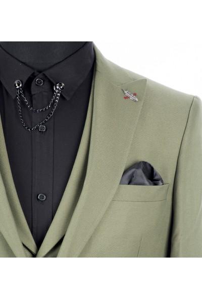 Deepsea Yeşil Kendinden Desenli Çift Yırtmaçlı İtalyan Kesim 3'Lü Takım Elbise 1810702